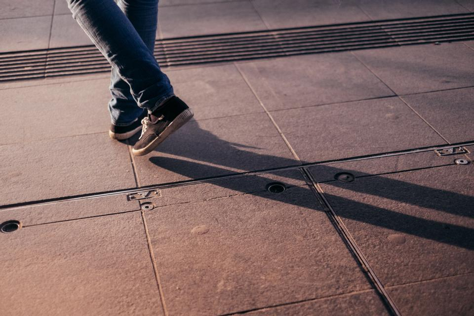 person walking in street